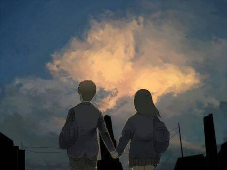 唯美情侣牵手背影照