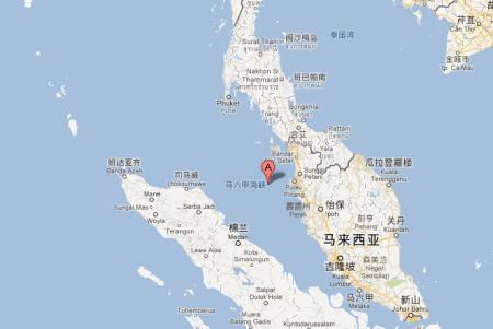 世界地图 上的 马六甲海峡 和德雷克海峡