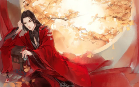 举着酒杯的古代手绘红衣美男图片大全图片
