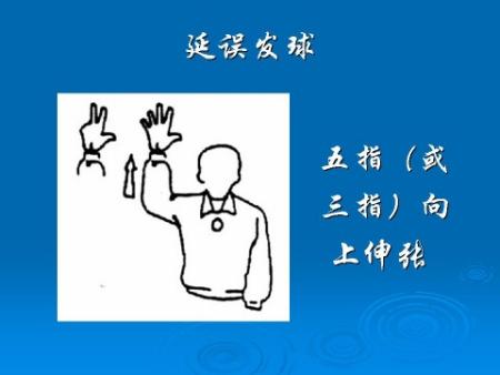 排球比赛中,发球违例的手势是什么样的 还有发球延误的手势 谢谢