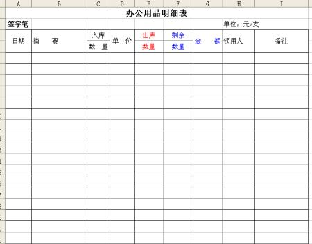 办公用品领用管理台账表格模板