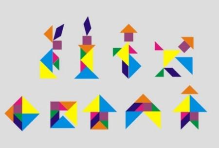 平行四边形和小三角形在下面  中三角形,一块小三角形和正方形在上面图片