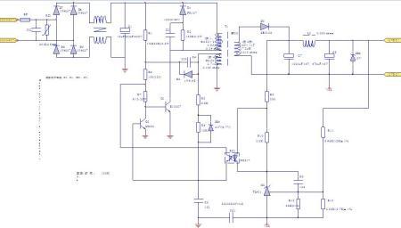 5a开关电源原理图,图纸上标有磁芯及参数,实际做时,用了ee22的磁芯,本图片