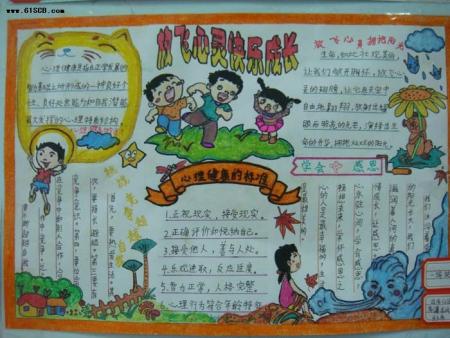 西塘小学四年级心理乐观向上积极进取手抄报图片
