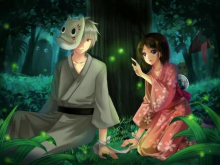 萤火虫之森中的一个男生用一个木棍牵着小女生的图片图片