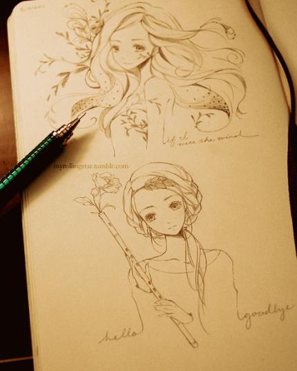 这种自动铅笔画的画有专业名称吗 这种女孩画风又叫什么系列的 要学这种画要怎样开始