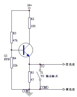 5v降到0v时,plc输出电磁阀得电.y0输出是电磁阀,我没有画出来.图片