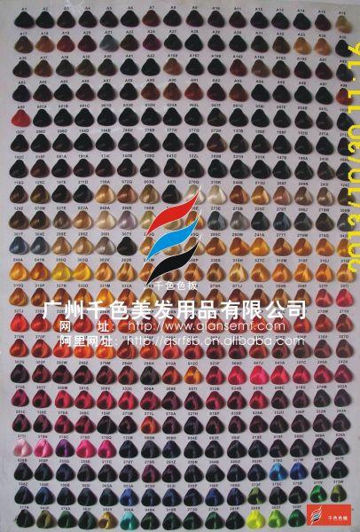 广州千色美发用品公司专业做染发色板的,这张染发色板目录差不多400色图片