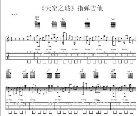 天空之城吉他谱.简谱版.新手图片