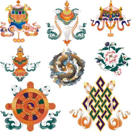 谁有藏族八宝图矢量图 八合一的那种?