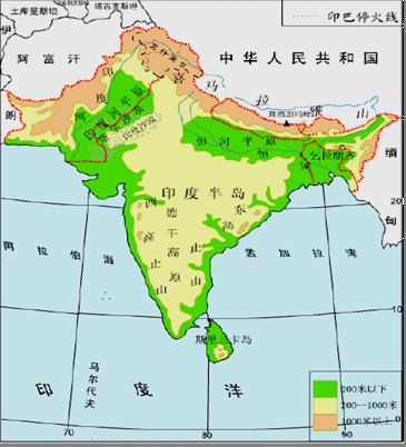 亚洲地形囹�b���_读印度地形和亚洲气候图,回答问题.