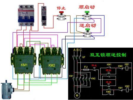 电机正反转接线图动 电机正转接法实物图 正反转接线图图片