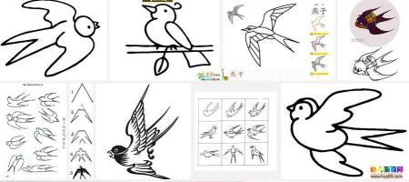 卡通燕子 可爱燕子简笔画 燕子怎么画简笔画高清图片