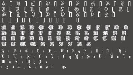 花纹和金盾 均没有数字字体(只有字母)所以没办法显示图片
