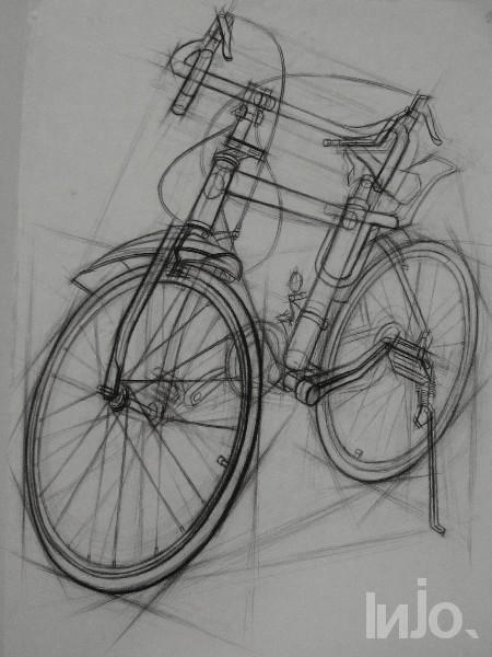 考级自行车临摹素描画图片