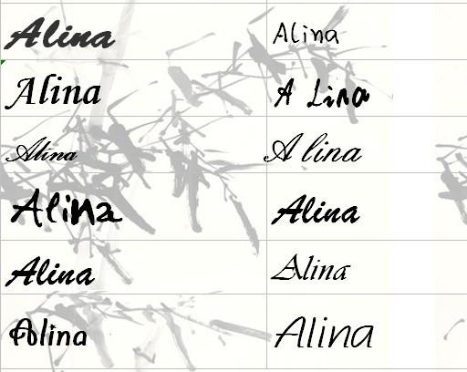 我的英文名字叫alina,帮我设计一个英文签名图片