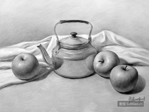 水果静物素描图片