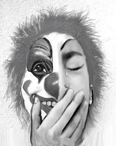 求绘画大神涂鸦一张半边脸戴个笑脸小丑面具,半边脸在图片