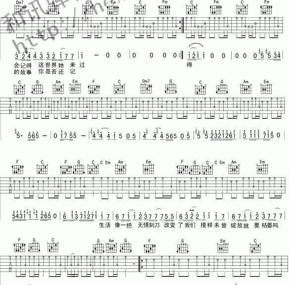 老男孩吉他谱扫弦节奏型