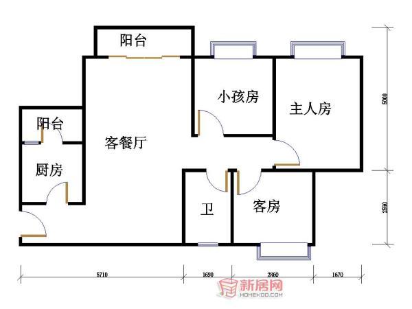 求助120平米三房一厅一卫一厨房子平面图