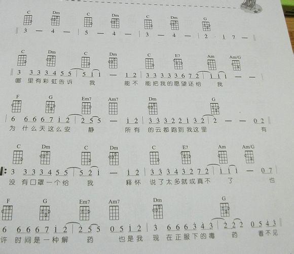 求周杰伦的彩虹ukulele谱图片