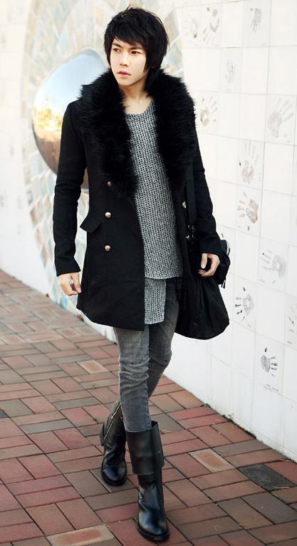 冬日瘦高男生衣服搭配图片 要好看的 高清图片