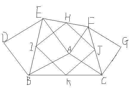 在任意三角形abc边上画正方形abde,acgf,连接ef,在efbc中点连线hikj图片