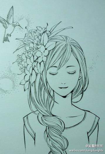 素描图片 素描少女 铅笔画 动漫素描图片