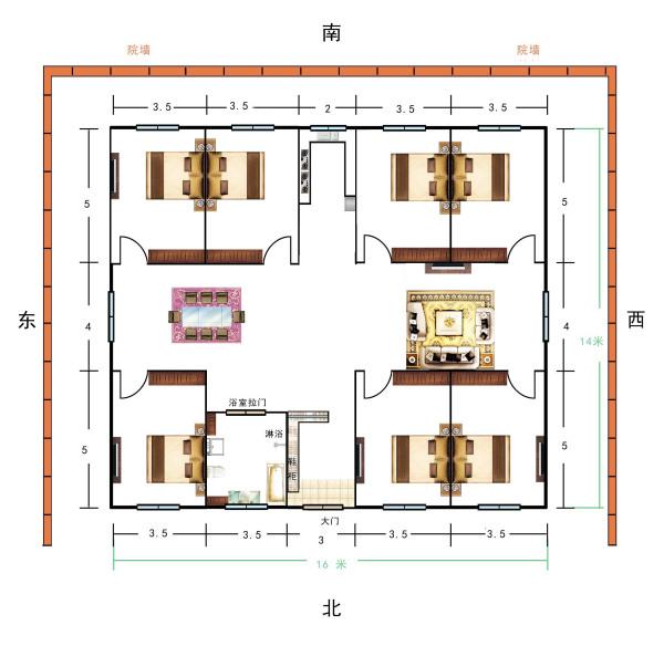 急求农村盖房图纸,只盖一层,六间卧室,厨房,卫生间,客厅,餐