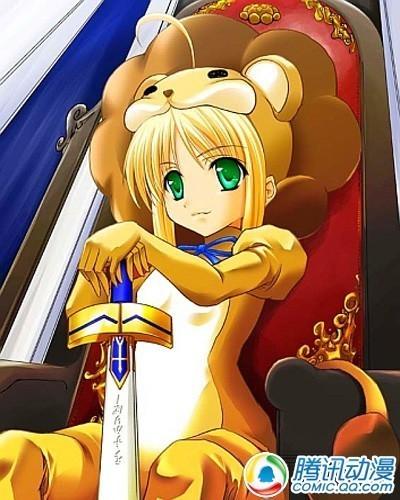 黄色头发动漫女孩穿着狮子装只露了脸好可爱的狮子头