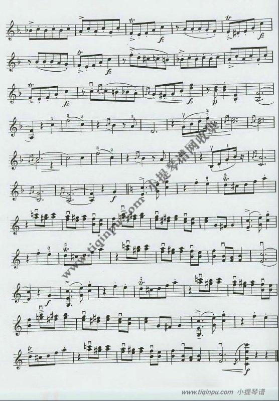 爱之欢乐小提琴曲简谱