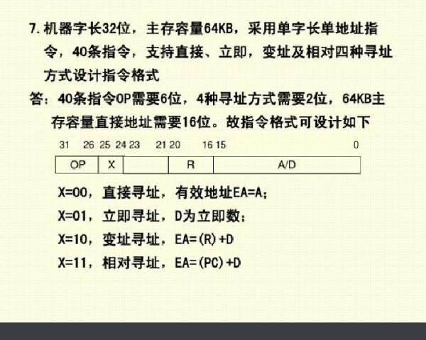 机器字长32位,主存容量64KB,采用单字长单地