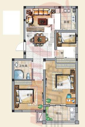两室两厅改三室怎么改,附上户型图 高清图片