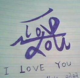 用英文i love you写成一个中文的爱字,怎么写.发个图片图片