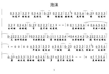 求邓紫棋的泡沫 数字简谱,谢谢!图片