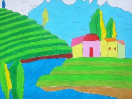 2014美丽家乡我来画美丽家乡绘画 我的美丽家乡 图片  家乡的风景画