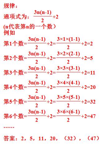 32,47 2,5之间进率是3,5,11之间是6,11,20之间是9,所以下一个进率是12图片