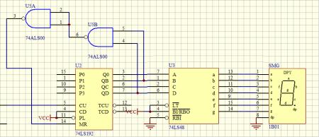 求74ls192和74ls48接法(加法计数器)这是我画的原理图