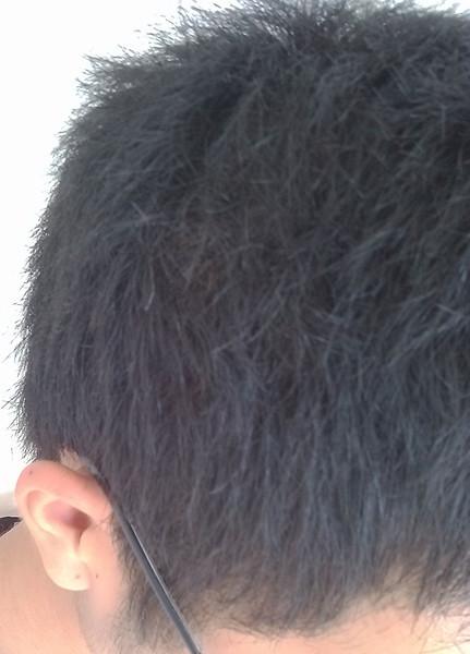 头发多,密,微带自然卷 头发两侧横着长,应该是鹅蛋脸.