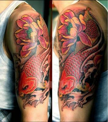 手臂纹身 时尚经典鱼纹身图片